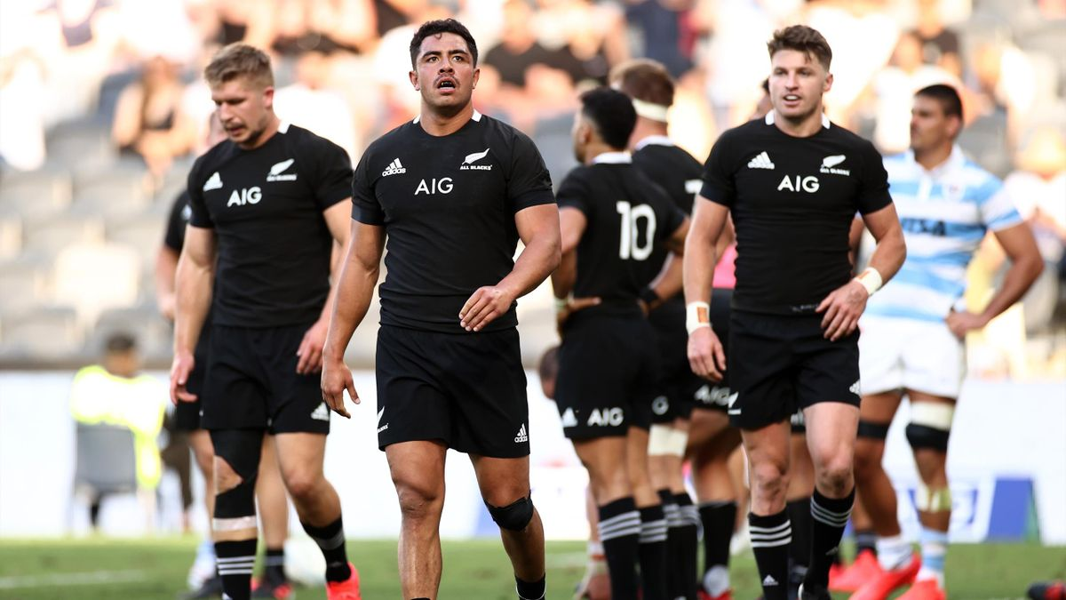 SYDNEY, AUSTRALIA - NOVEMBER 14: Anton Lienert-Brown of the All Blacks looks on during the 2020 Tri-Nations rugby match between the New Zealand All Blacks and the Argentina Los Pumas at Bankwest Stadium on November 14, 2020 in Sydney, Australia.