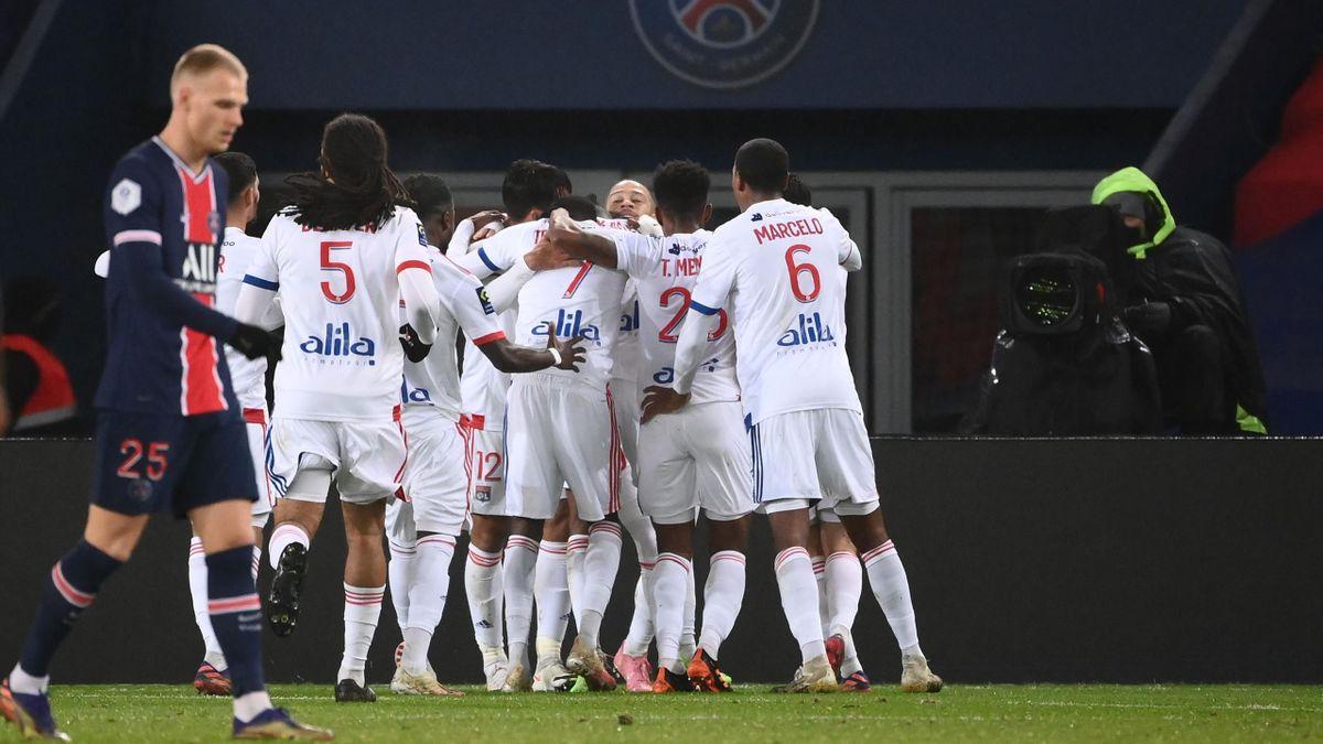 PSG-Lione, Ligue 1 2020-2021: l'esultanza del Lione dopo il gol dello 0-1 di Tino Kadewere (Getty Images)