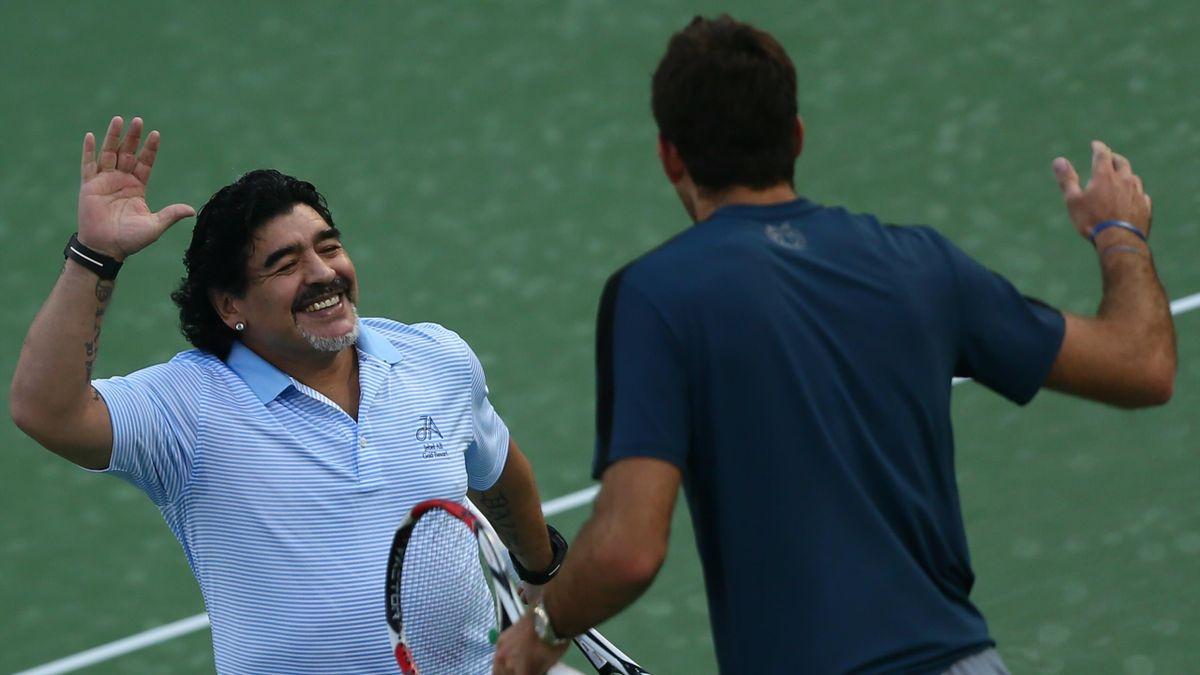 Diego Maradona et Juan Martin Del Potro à Dubai en 2013