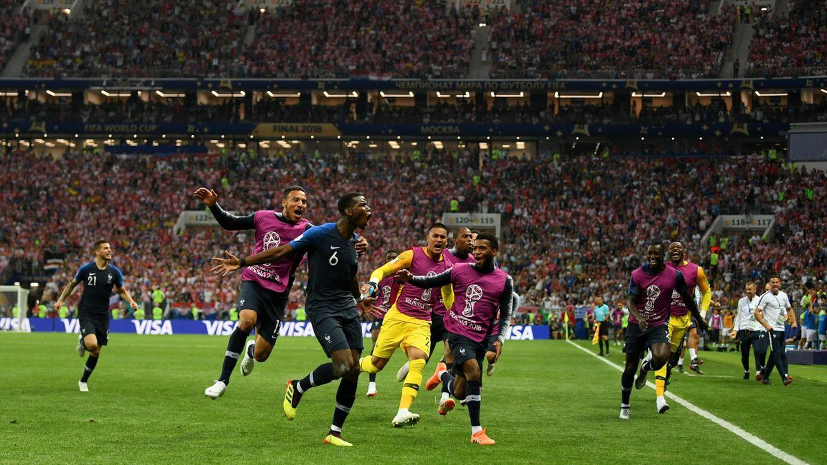 Paul Pogba feiert sein 3:1 im WM-Finale zwischen Frankreich und Kroatien