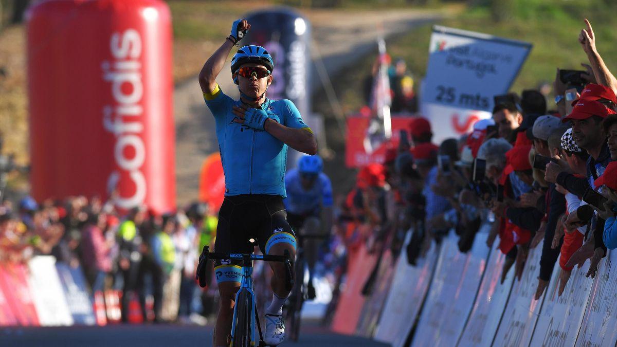 Miguel Ángel López of Colombia and Team Astana Pro Team / Celebration / during the 46th Volta ao Algarve 2020, Stage 4 a 169,7km stage from Albufeira to Alto do Malhão 518m - Loulé / #VAlgarve2020 / on February 22, 2020 in Alto do Malhão - Loulé, Portugal