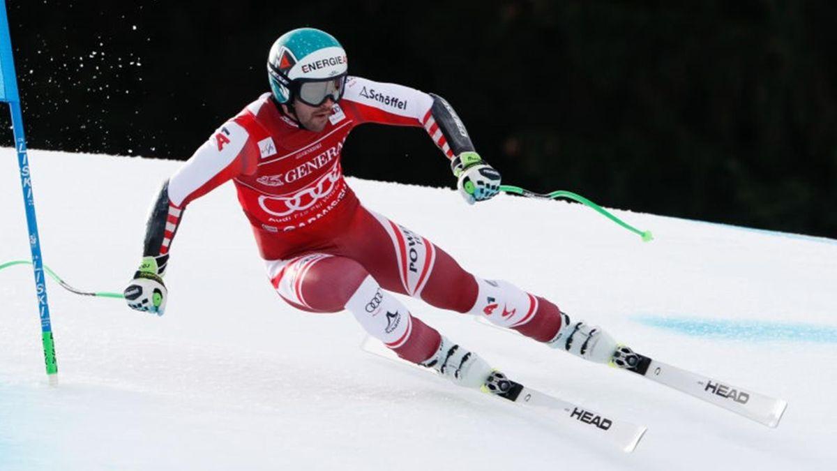 Vincent Kriechmayr of Austria in action during the Audi FIS Alpine Ski World Cup Men's Super Giant Slalom on February 6, 2021 in Garmisch Partenkirchen, Germany. (Photo b