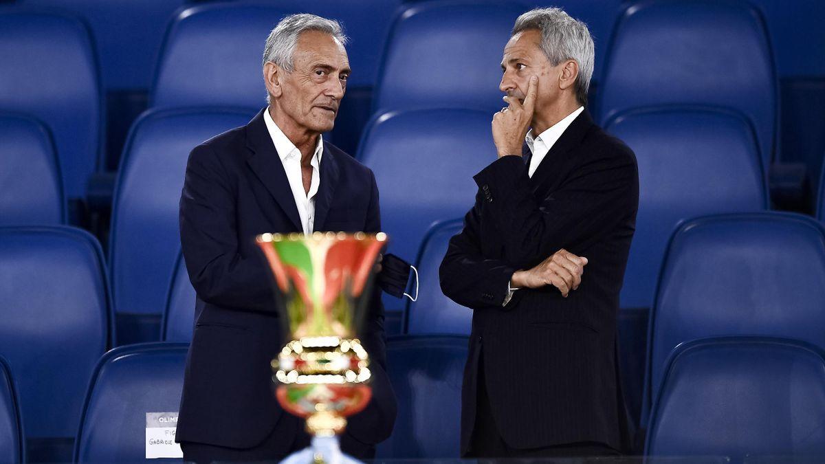Il presidente della FIGC, Gabriele Gravina e il presidente della Serie A, Paolo Dal Pino