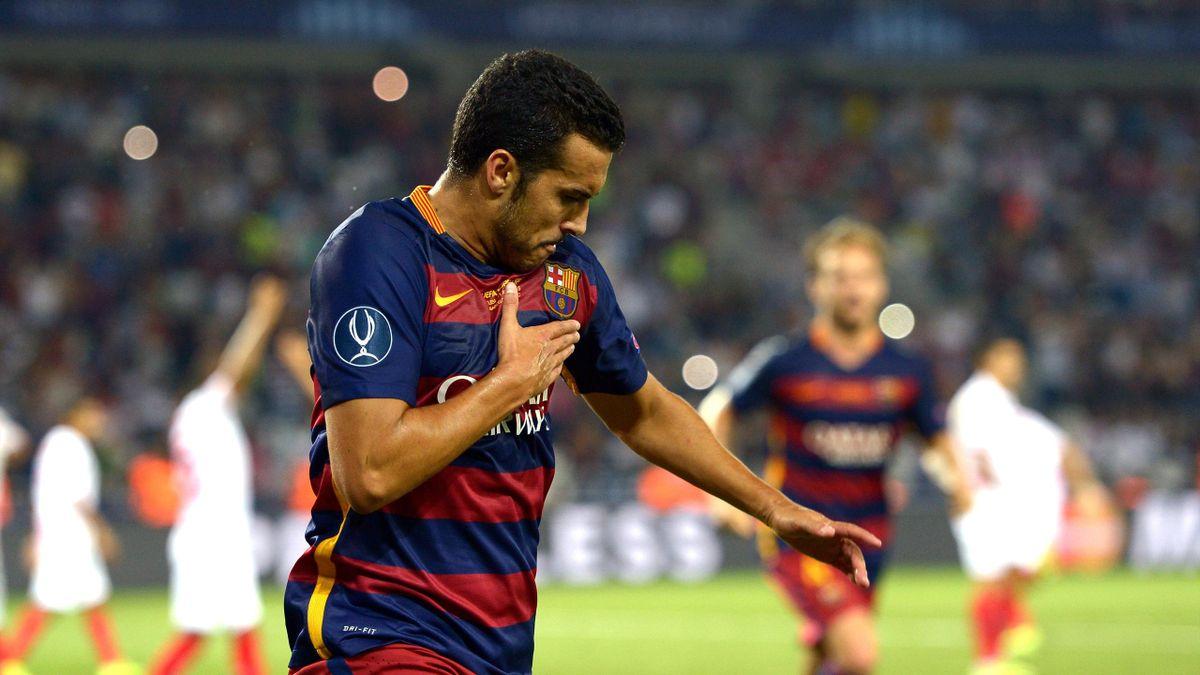 Pedro celebrates scoring the winner in the Super Cup