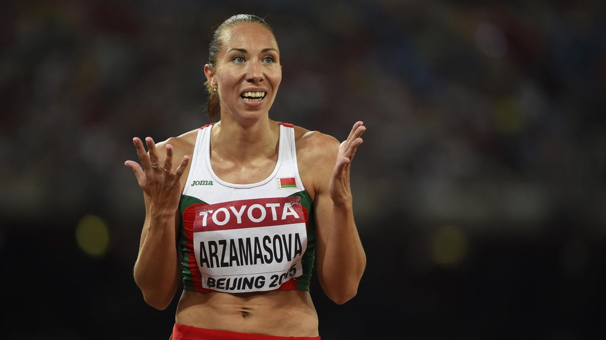 Belarus's Marina Arzamasova reacts after competing in a semi-final heat of the women's 800 metres athletics event at the 2015