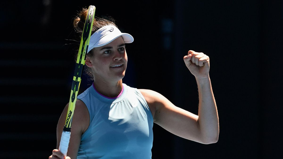 Jennifer Brady of the US celebrates her victory against Croatia's Donna Vekic during their women's singles match on day eight of the Australian Open tennis tournament in Melbourne