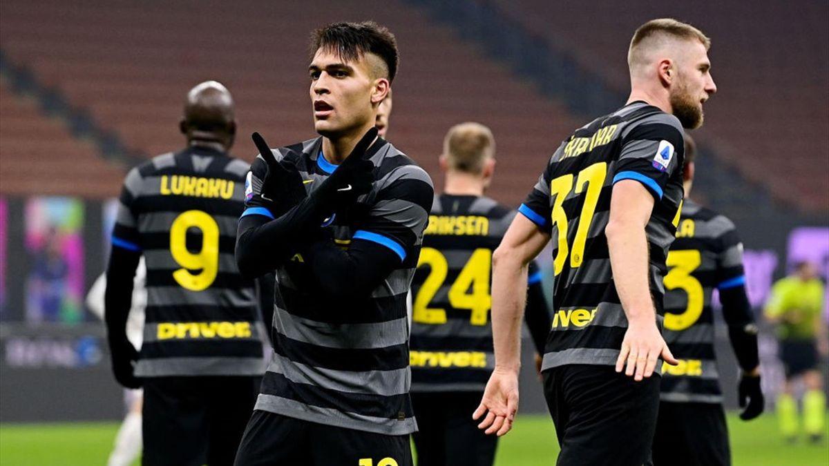 Lautaro Martinez auteur du deuxième but pour l'Inter contre Benevento en Serie A le 30 janvier 2021