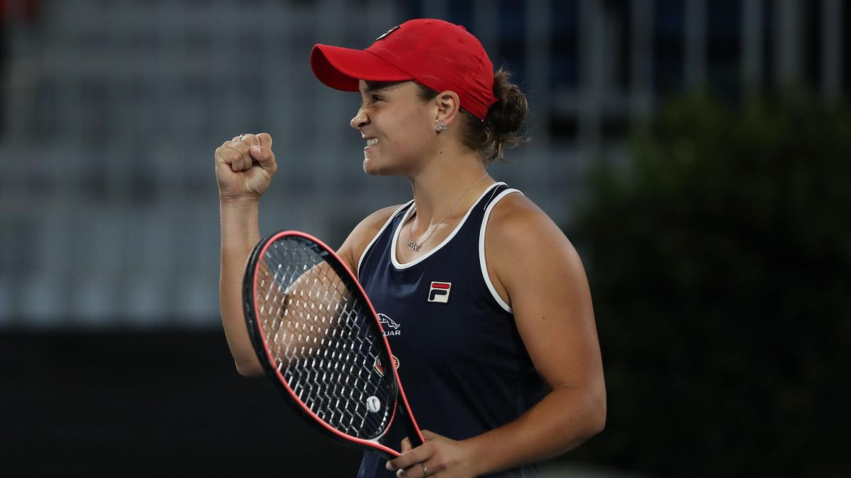 Ashleigh Barty of Australia celebrates winning the semi final match against Danielle Collins of the USA during day six of the 2020 Adelaide International at Memorial Drive on January 17, 2020 in Adelaide