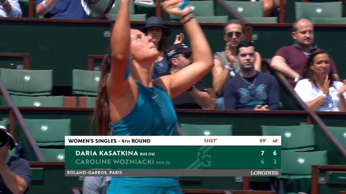 French Open highlights : Wozniacki v Kasatkina