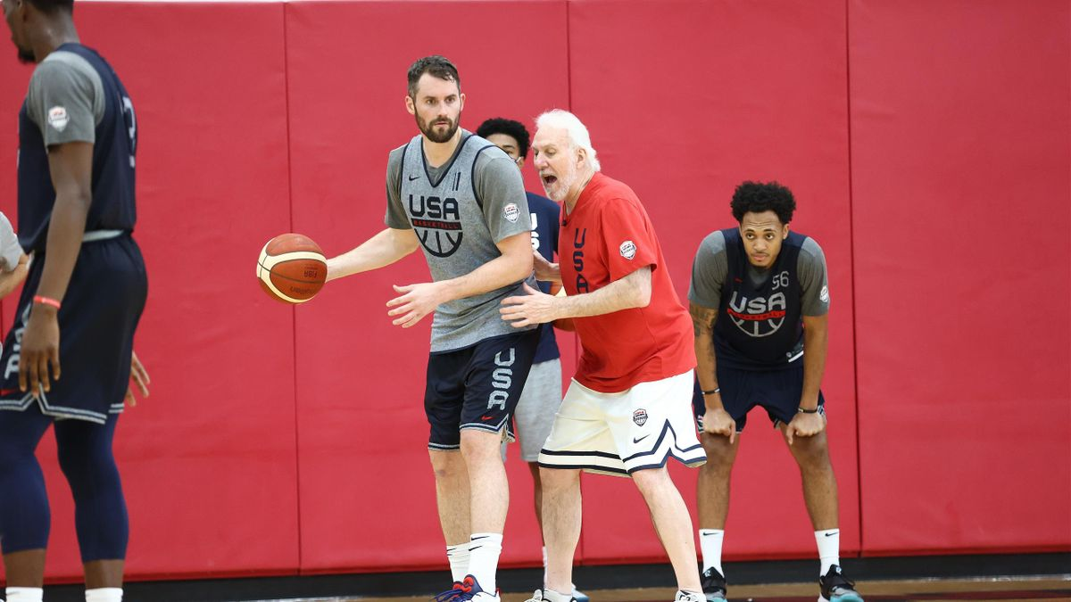 LAS VEGAS, NV - JULY 15: Head Coach Gregg Popovich coaches Kevin Love #11 of the USA Men's National Team during USAB Men's National Team practice at the Mendenhall Center on July 15, 2021 in Las Vegas, Nevada. NOTE TO USER: User expressly acknowledges and
