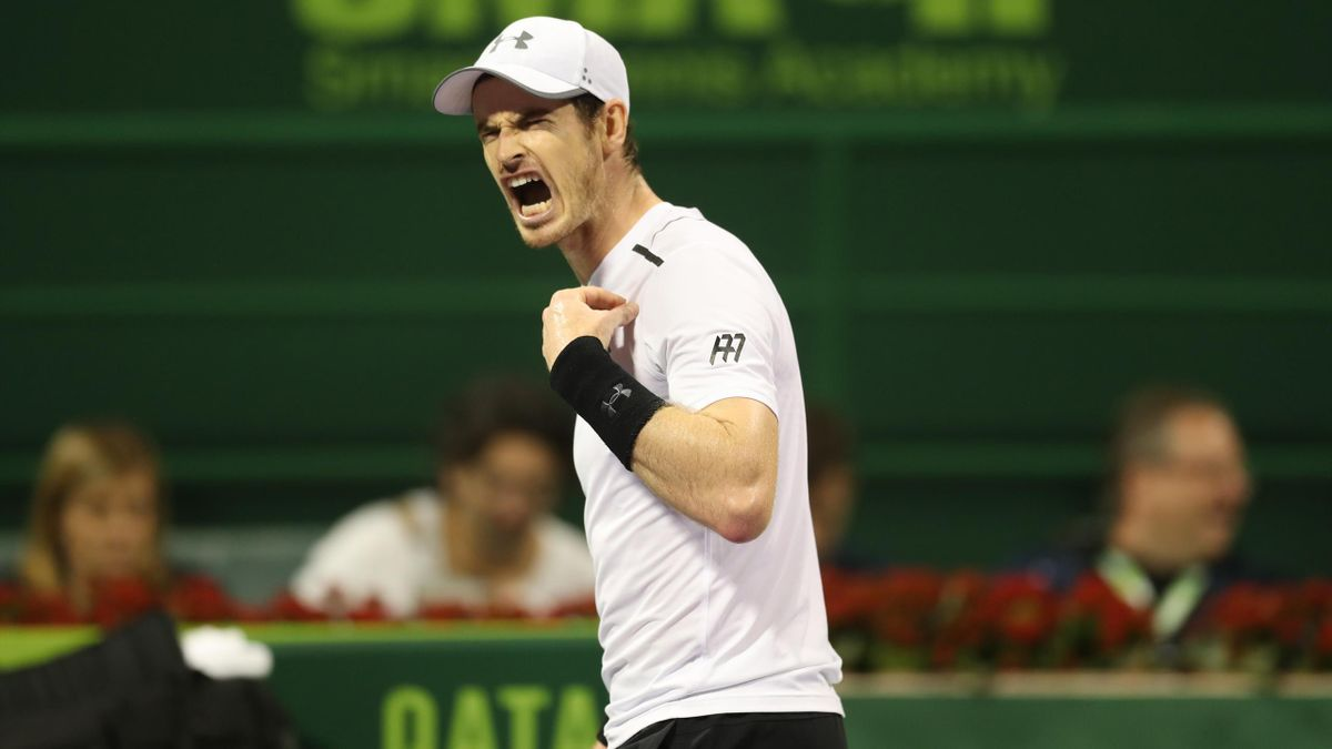 Britain's Andy Murray reacts as he plays against Serbia's Novak Djokovic
