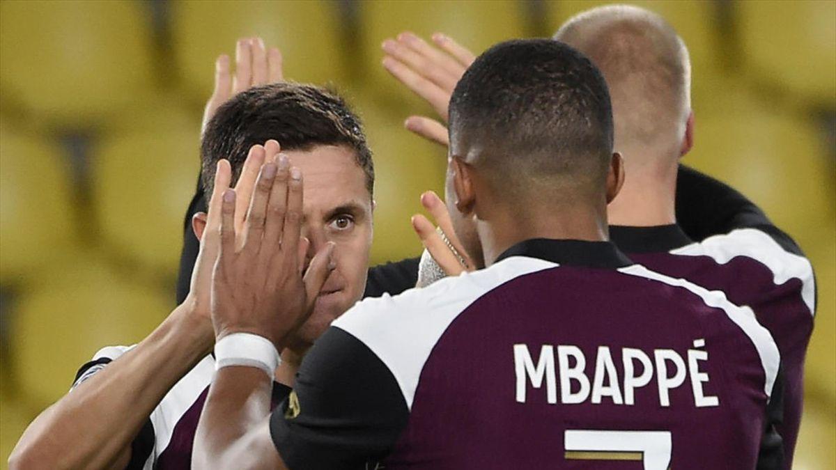 Ander Herrera et Kylian Mbappé, les deux buteurs du PSG contre Nantes en Ligue 1