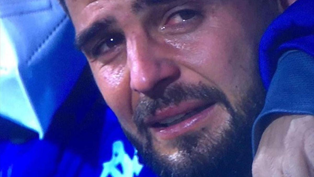 Lorenzo Insigne in lacrime al termine di Juventus-Napoli, Supercoppa Italiana