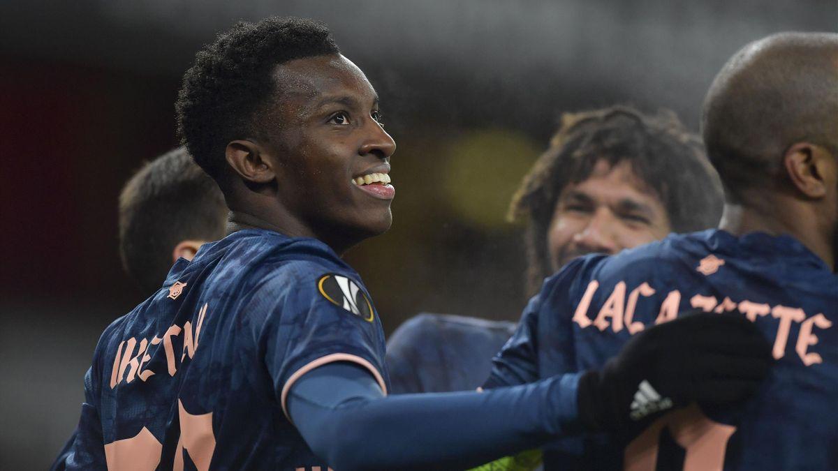 Eddie Nketiah of Arsenal celebrates