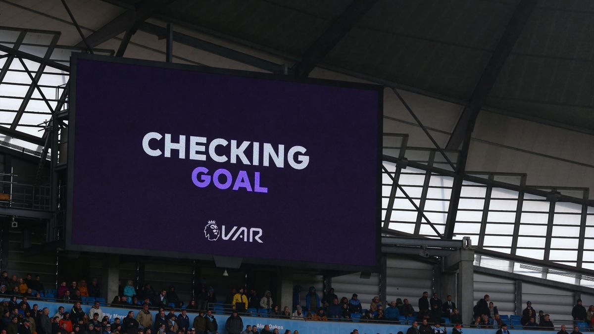 A goal scored by Kevin De Bruyne of Manchester City is checked by VAR during the Premier League match between Manchester City and Aston Villa at Etihad Stadium on October 26, 2019 in Manchester, United Kingdom.