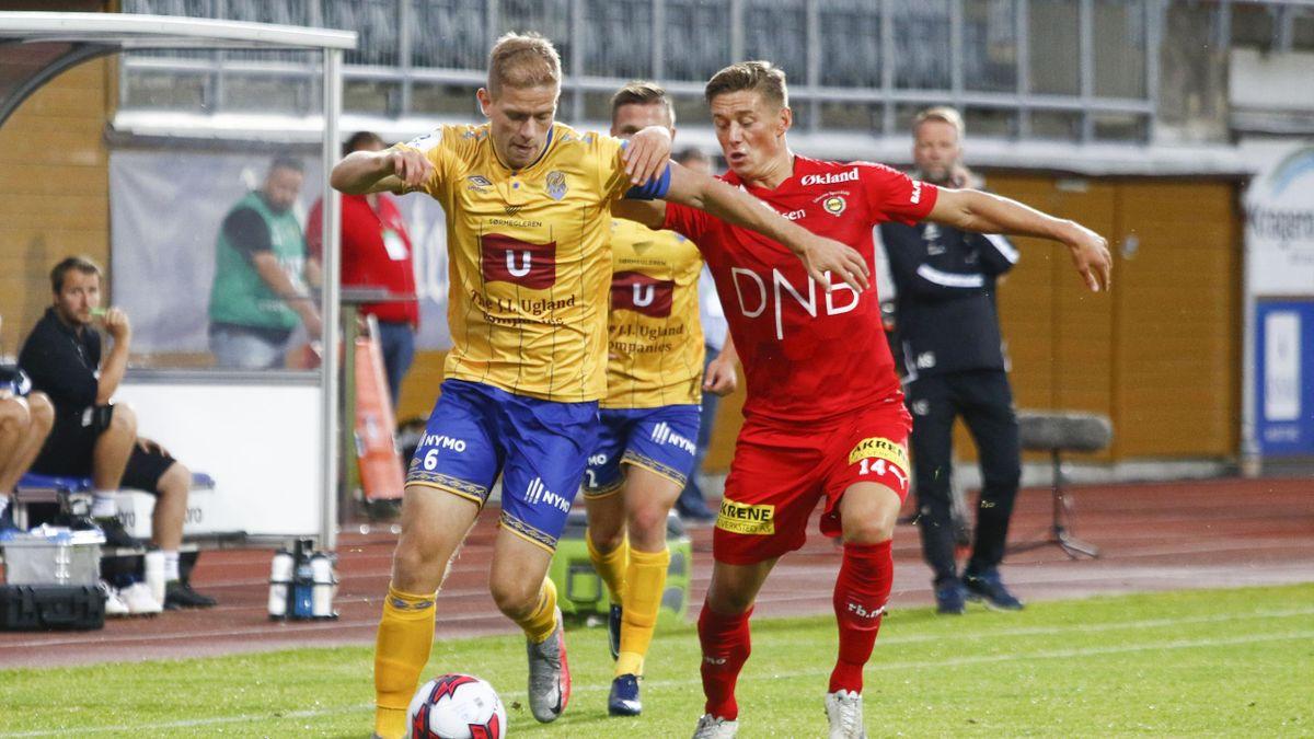 Jerv-kaptein Mathias Wichmann i duell med Fredrik Krogstad.
