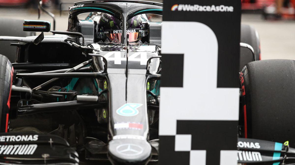 Lewis Hamilton (Mercedes) après la séance de qualifications du Gand Prix de Hongrie 2020