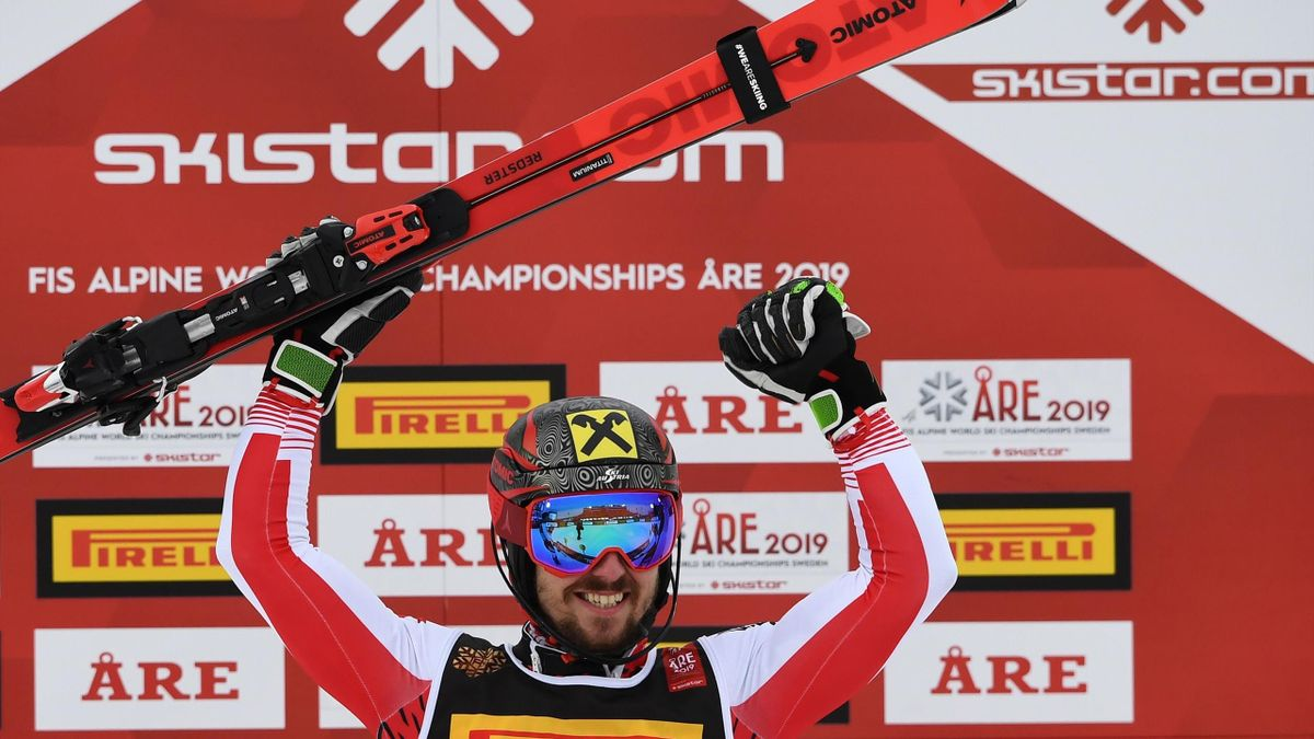 Austria's Marcel Hirscher celebrates after winning the men's slalom event at the 2019 FIS Alpine Ski World Championships at the National Arena in Are, Sweden, on February 17, 2019.