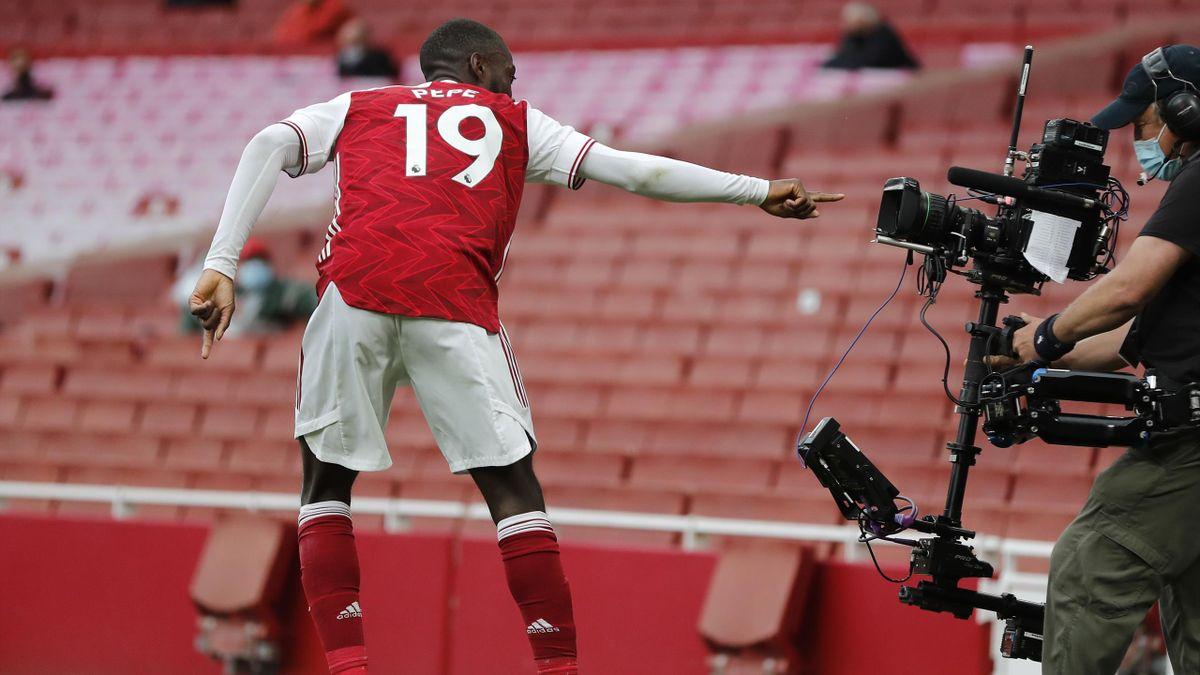 Nicolas Pépé, buteur avec Arsenal face à West Brom, le 9 mai 2021 en Premier League