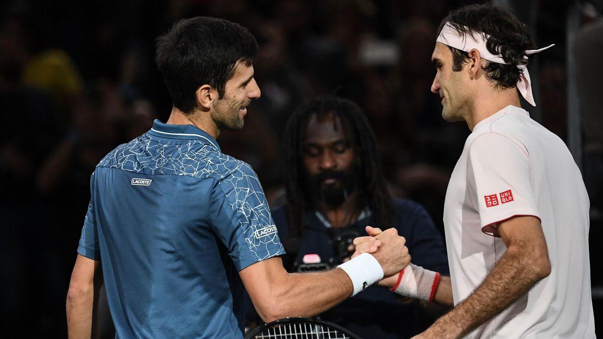 Novak Djokovic und Roger Federer