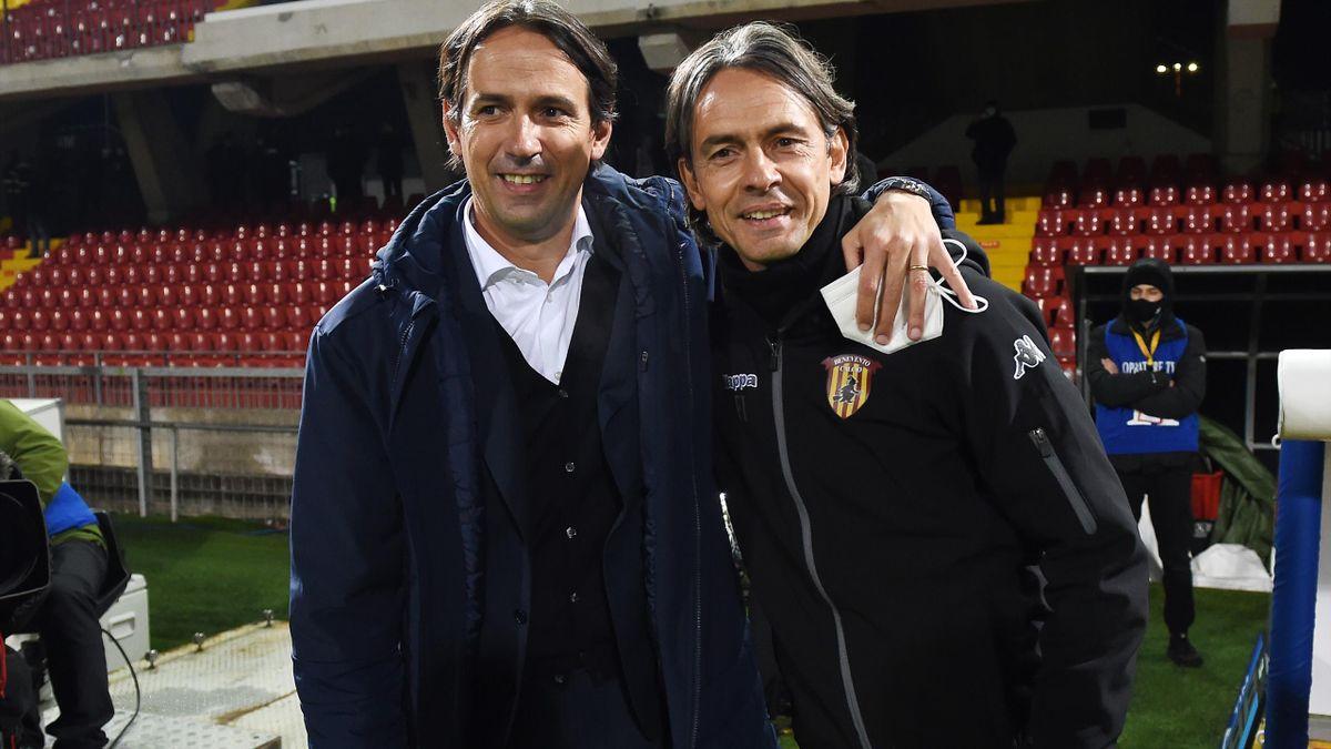 Simone Inzaghi insieme al fratello Filippo prima di Benevento-Lazio, Serie A 2020-21, Getty Images
