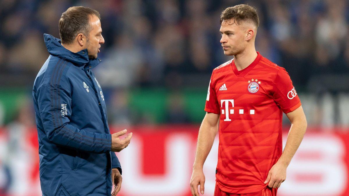 Bayern-Trainer Hansi Flick (l.) und Joshua Kimmich