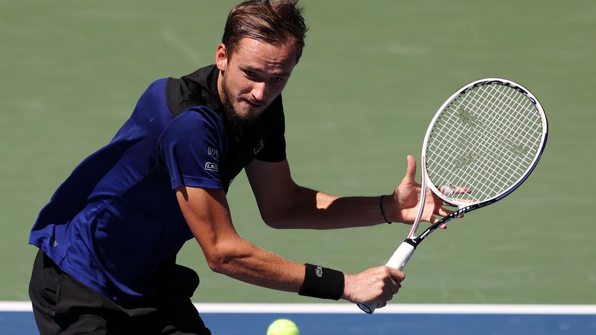 Daniil Medvedev of Russia returns a shot during his Men's Singles third round match against J.J. Wolf of the United States on Day Six of the 2020 US Open at USTA Billie Jean King National Tennis Center on September 05, 2020