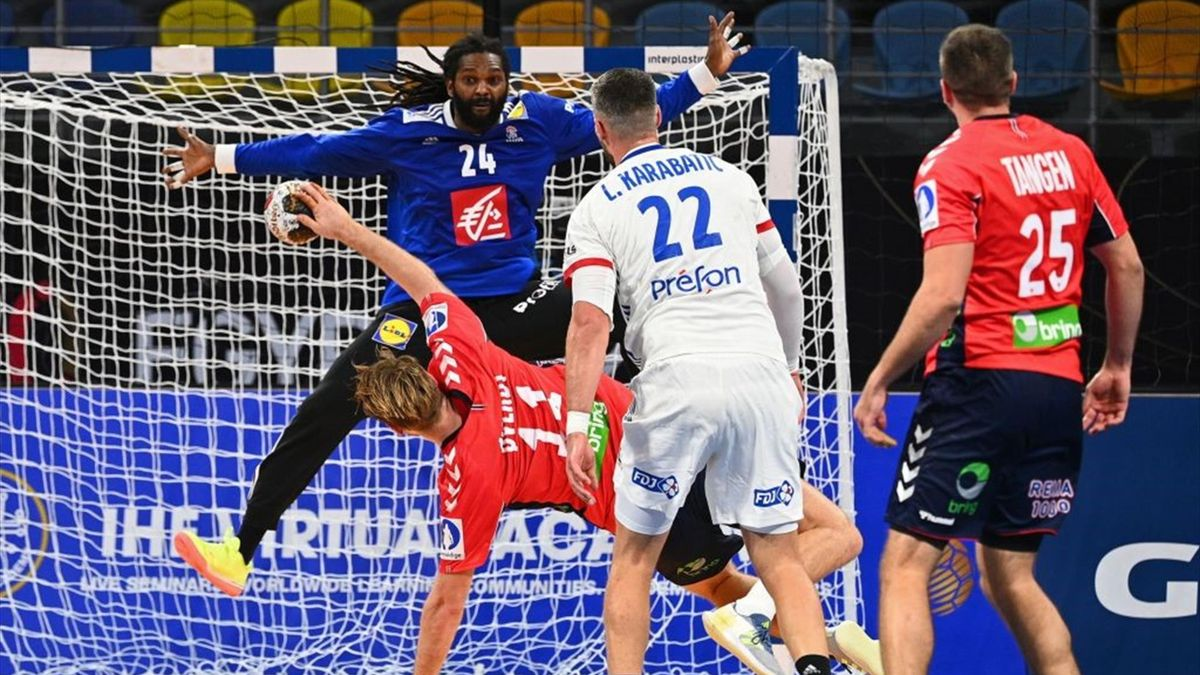 Norway's pivot Petter Overby (2ndL) shoots to score past France's goalkeeper Wesley Pardin during the 2021 World Men's Handball Championship between Group E teams Norway and France at the 6th of October Sports Hall in 6th of October city, a suburb of the