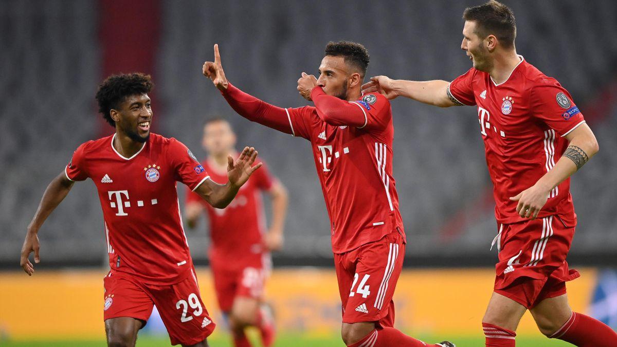 Corentin Tolisso (M.) jubelt über sein 3:0 (FC Bayern München vs. Atlético Madrid)