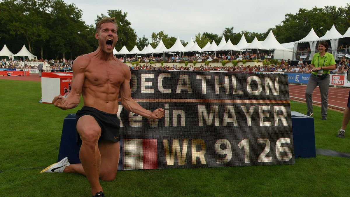 France's athlete Kevin Mayer reacts after setting a new world record in the decathlon during the IAAF 'Decastar' World Combined Events Challenge in Talence, south-western France