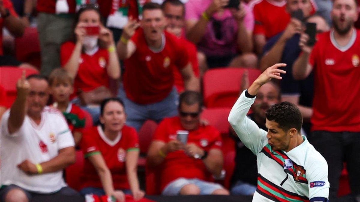 Reacția lui Ronaldo și a fanilor Ungariei după golul înscris de lusitan în meciul de la Budapesta