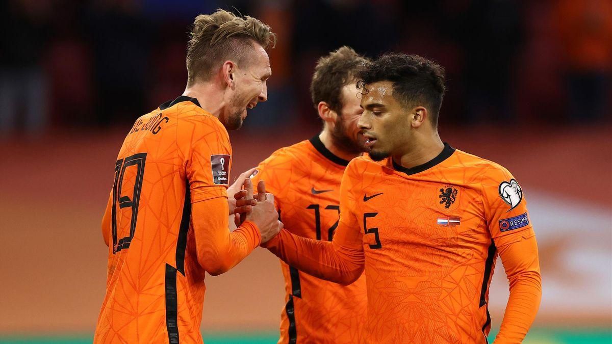 Luuk de Jong savoure son but lors de Pays-Bas - Lettonie en qualifications de la Coupe du monde 2022