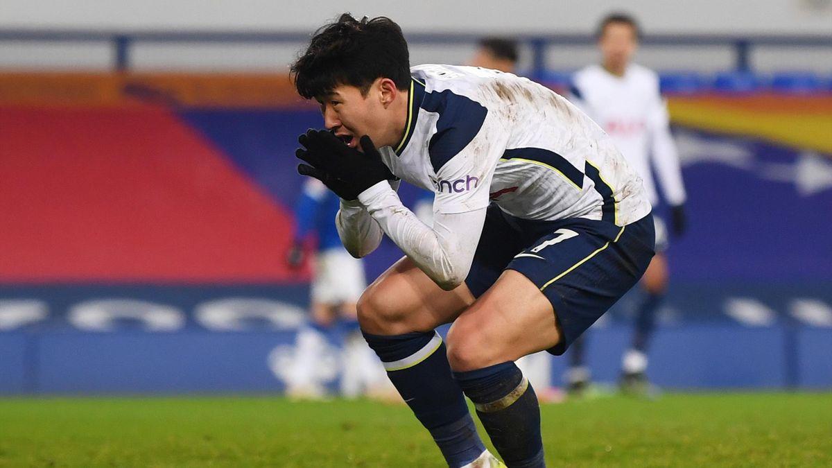 Son Heung-Min of Tottenham Hotspur reacts