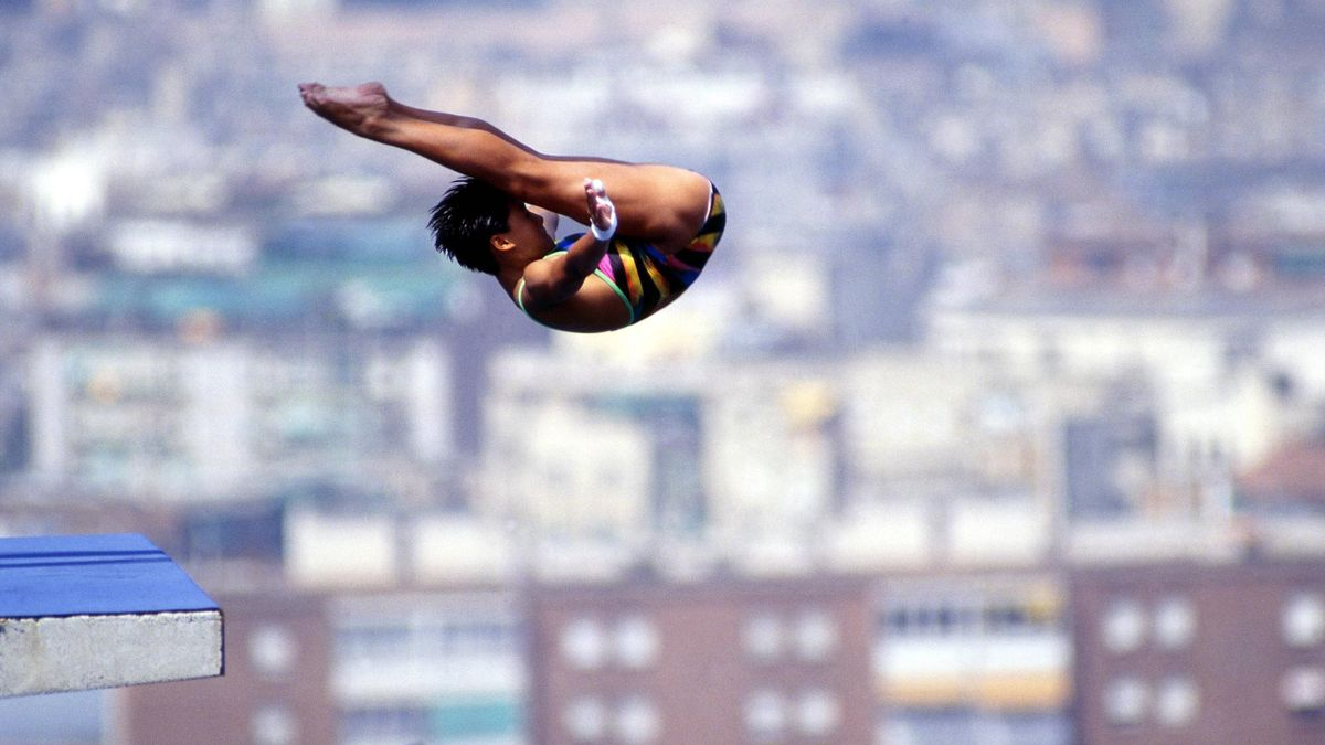 Fu Mingxia bei ihrem Olympiasieg in Barcelona