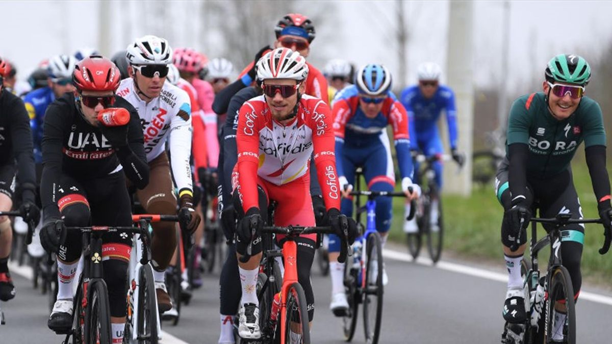 Rui Oliveira of Portugal and UAE Team Emirates & Tom Bohli of Switzerland and Team Cofidis during the 105th Ronde van Vlaanderen - Tour of Flanders 2021