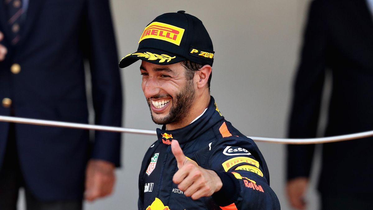 Daniel Ricciardo of Australia and Red Bull Racing celebrates finishing in third position on the podium during the Monaco Formula One Grand Prix at Circuit de Monaco on May 28, 2017 in Monte-Carlo, Monaco.