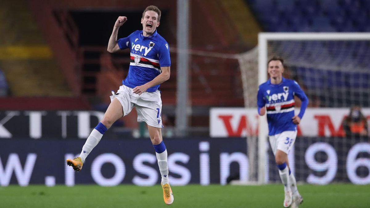Jankto esulta dopo il gol nel derby Sampdoria-Genoa