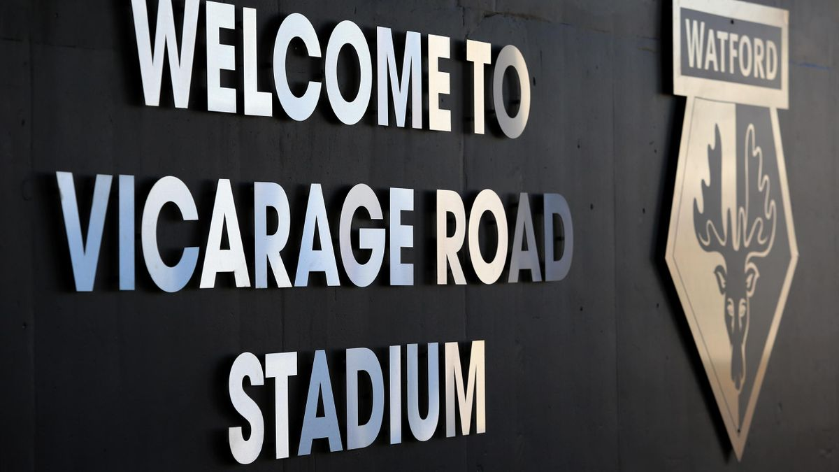 Signage outside of Watford's Vicarage Road Stadium