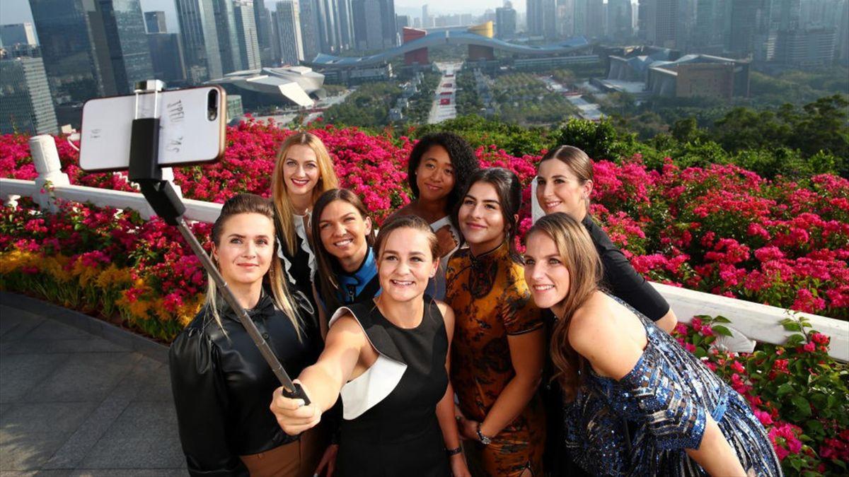 Las participantes en las WTA Finals 2019: Petra Kvitova, Naomi Osaka, Elina Svitolina, Ashleigh Barty, Simona Halep, Bianca Andreescu, Belinda Bencic y Karolina Pliskova
