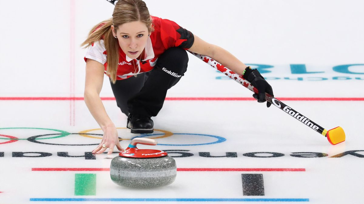 Kaitlyn Lawes (Canada) plays her stone during the 2018 PyeongChang Winter Olympics