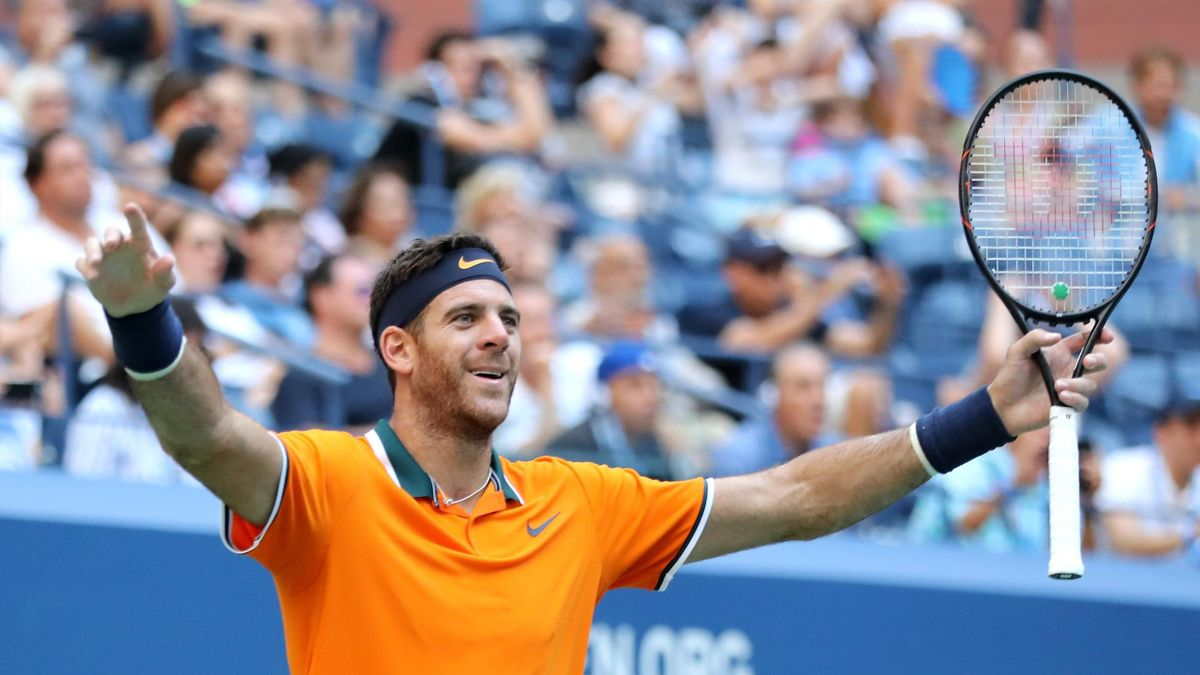 Juan Martin Del Potro of Argentina celebrates at match point during the men's singles quarter-final match against John Isner of The United States on Day Nine of the 2018 US Open at the USTA Billie Jean King National Tennis Center on September 4, 2018 in t