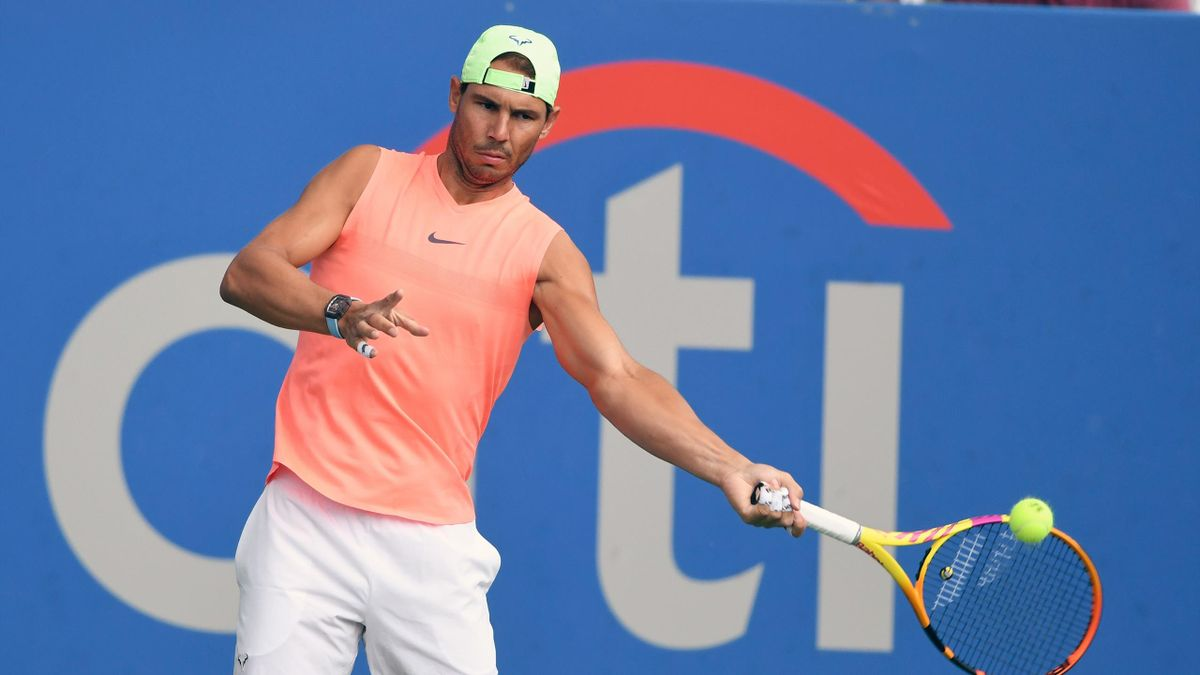 Rafael Nadal of Spain hits the ball during a practice session on Day 2 at Rock Creek Tennis Center on August 1, 2021 in Washington, DC
