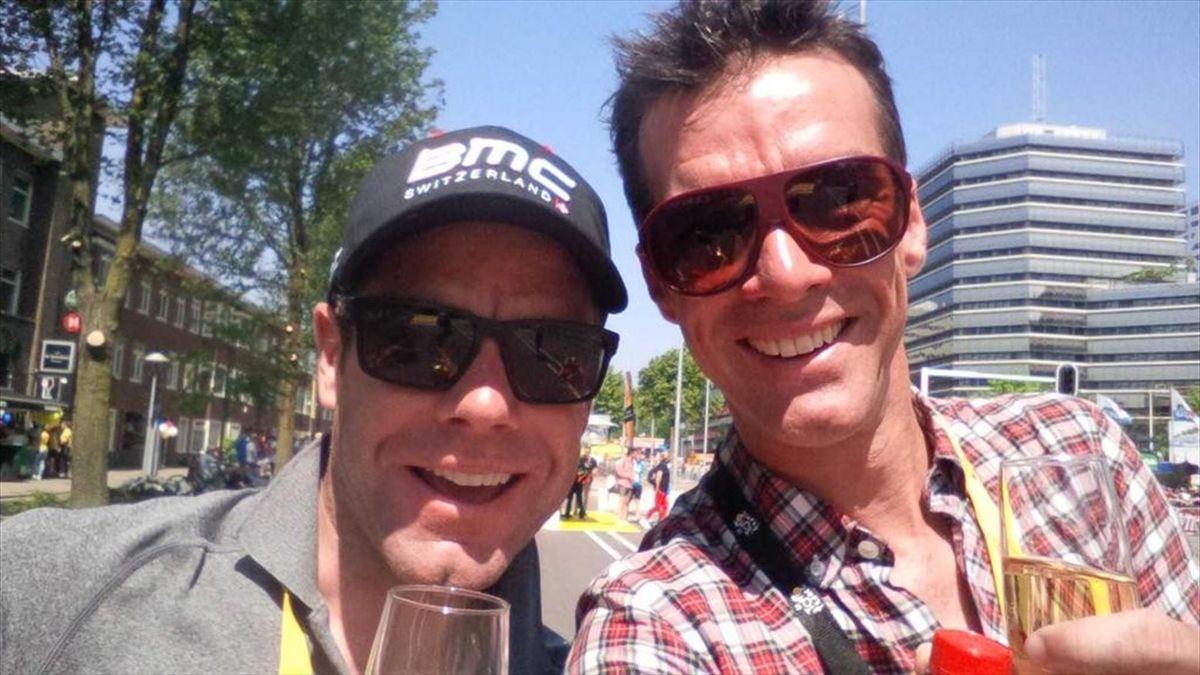 Cadel Evans et David Millar lors de la première étape du Tour de France 2015 - 04/07/2015
