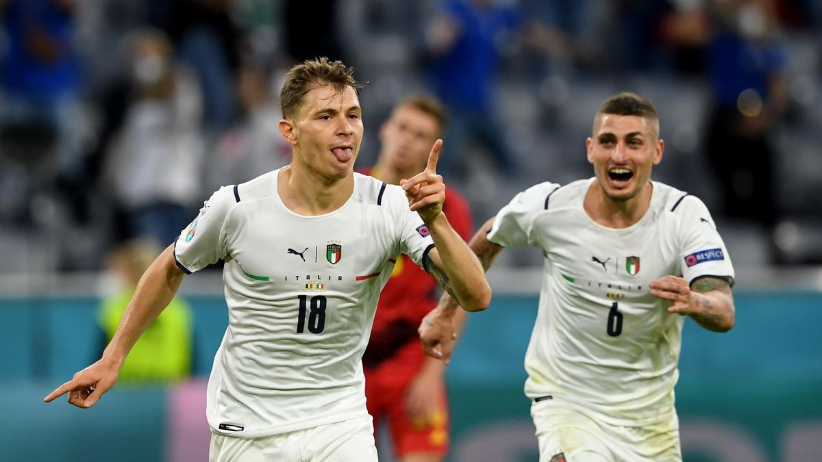MUNICH, GERMANY - JULY 02: Nicolo Barella of Italy celebrates after scoring their side's first goal during the UEFA Euro 2020 Championship Quarter-final match between Belgium and Italy at Football Arena Munich on July 02, 2021 in Munich, Germany