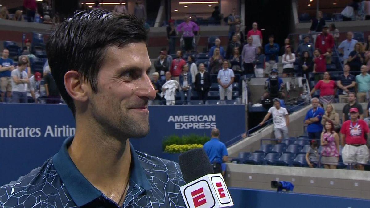 US OPen Day 6 : Interview on-Court Djokovic