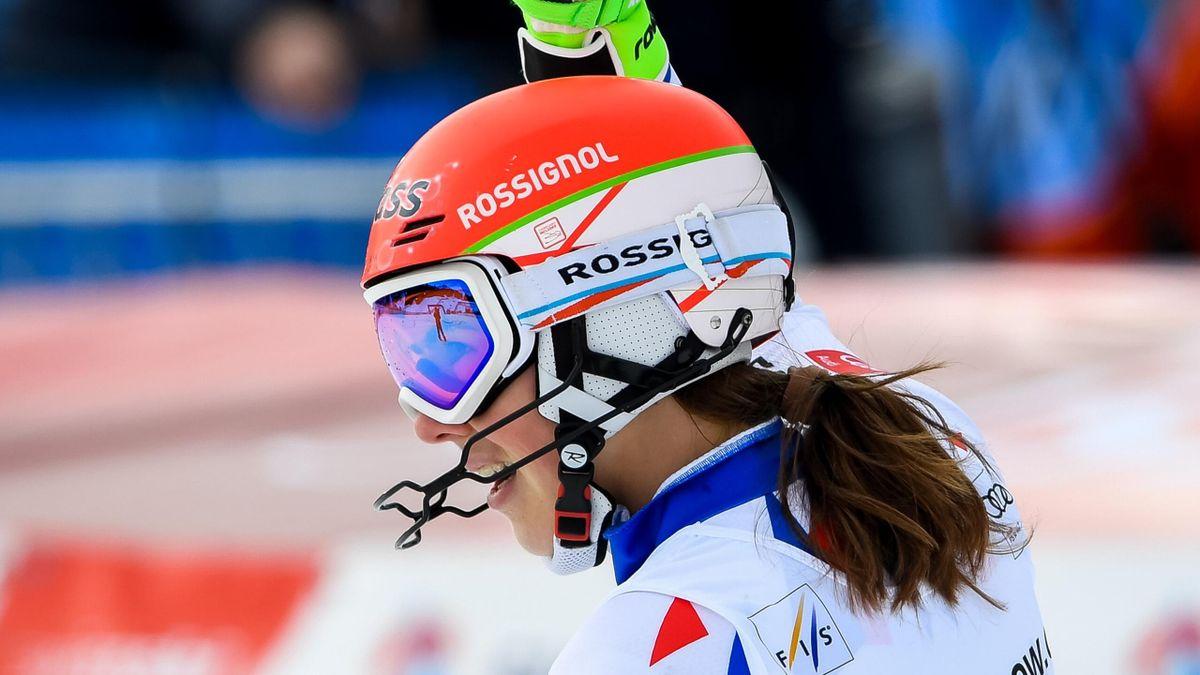 Petra Vlhova of Slovakia takes 1st place during the Audi FIS Alpine Ski World Cup Women's Slalom on January 28, 2018 in Lenzerheide