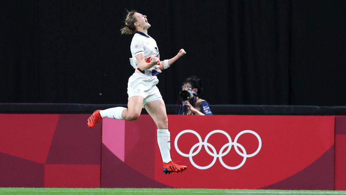 Ellen White celebrating her goal for Team GB against Japan