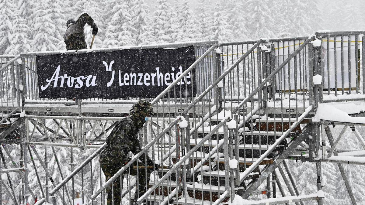 Schneefall stoppt die Abfahrt in Lenzerheide