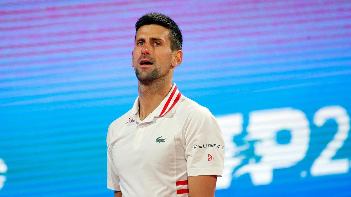 Serbias Novak Djokovic reacts during his ATP 250 Serbia Open semi-final singles tennis match against Russia's Aslan Karatsev at The Novak Tennis Centre in Belgrade