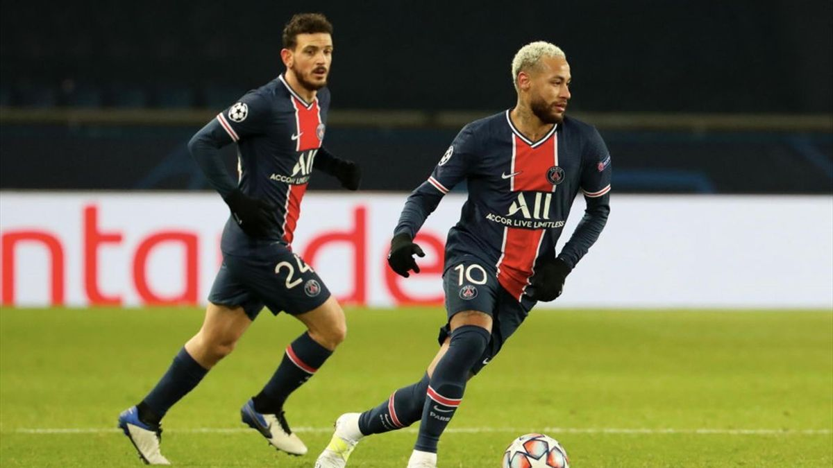 Alessandro Florenzi (hinten) und Neymar im Champions-League-Spiel gegen Basaksehir Istanbul Mitte Dezember 2020